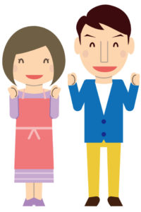 自営業を楽しむ夫婦のイラスト