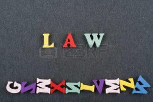法律と英語で書いてある文字